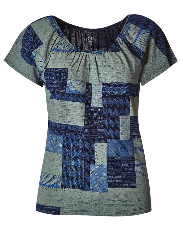 Navy Patterned Peasant Tee, Navy/Green, hi-res