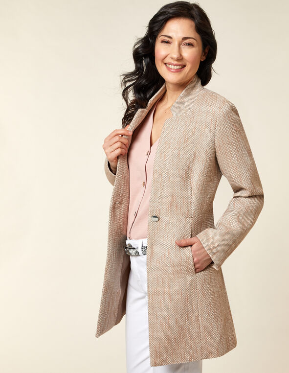 Taupe Tweed Coat, Neural/Taupe, hi-res