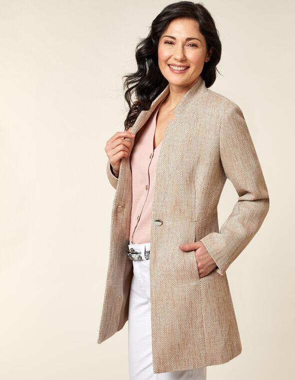 Taupe Tweed Coat, Neural/Taupe, hi-res