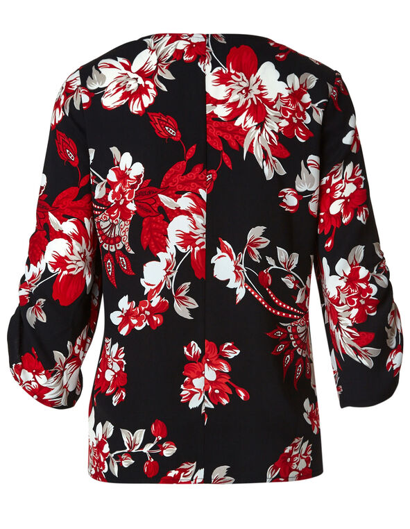 Scarlet Red Floral Blouse, Red/Black, hi-res