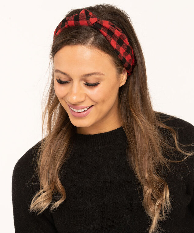 Buffalo Check Mask & Hair Set, Red/Black, hi-res