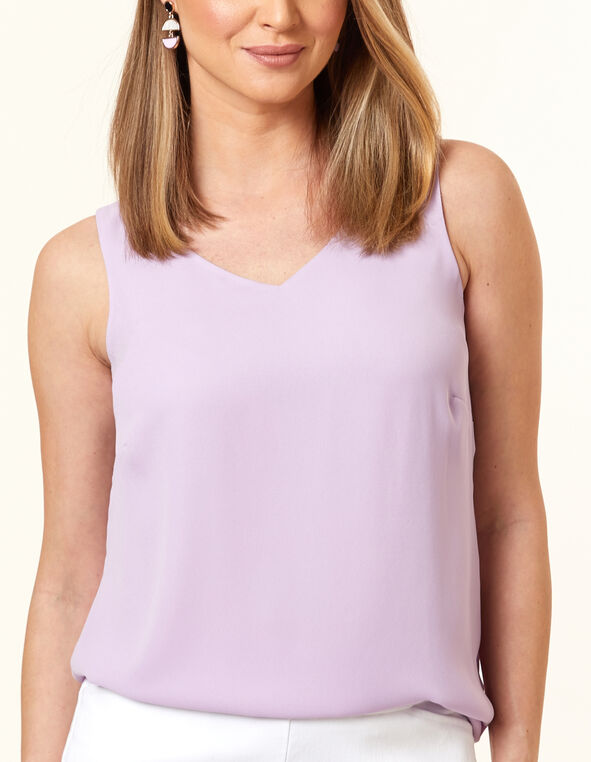 Sleeveless Woven Blouse, Lt Purpl, hi-res