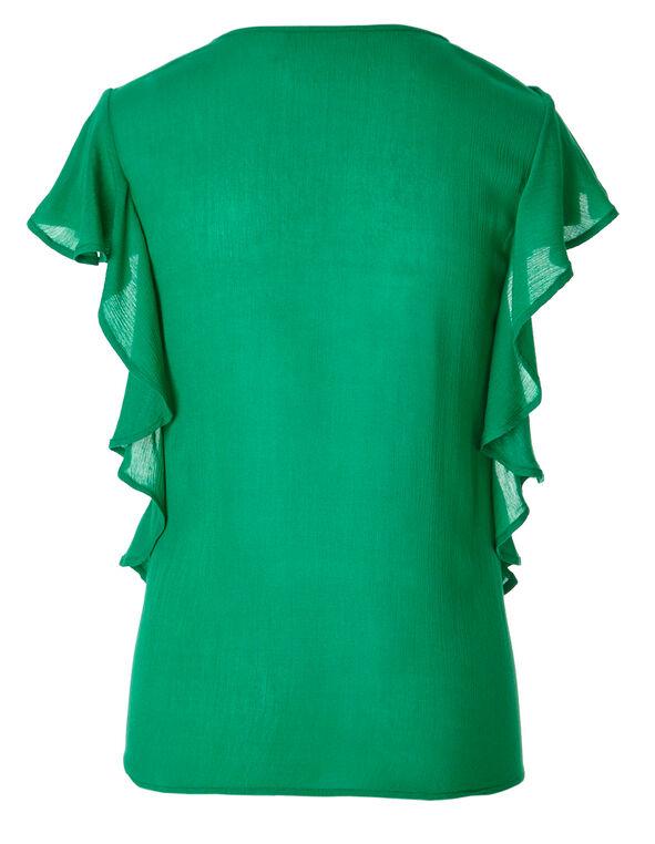 Emerald Flutter Sleeve Blouse, Emerald, hi-res
