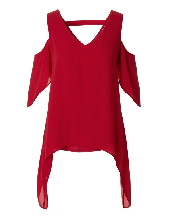 Red Cold Shoulder Chiffon Blouse, Red, hi-res