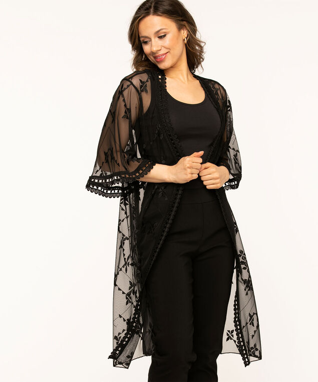 Black Mesh Lace Trim Kimono, Black