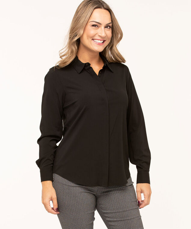 Black Collared Button Front Blouse, Black, hi-res