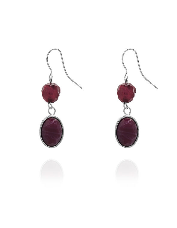 Purple Stone Earrings, Purple, hi-res