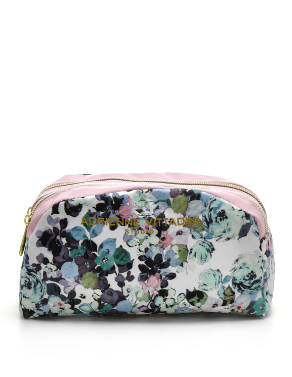 Purple Floral Cosmetic Case, Purple, hi-res