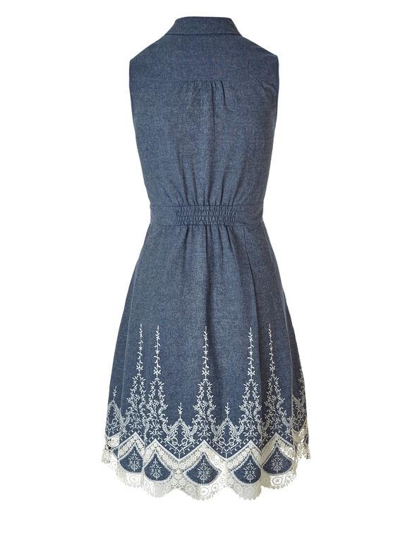 Chambray Embroidered Dress, Chambray, hi-res