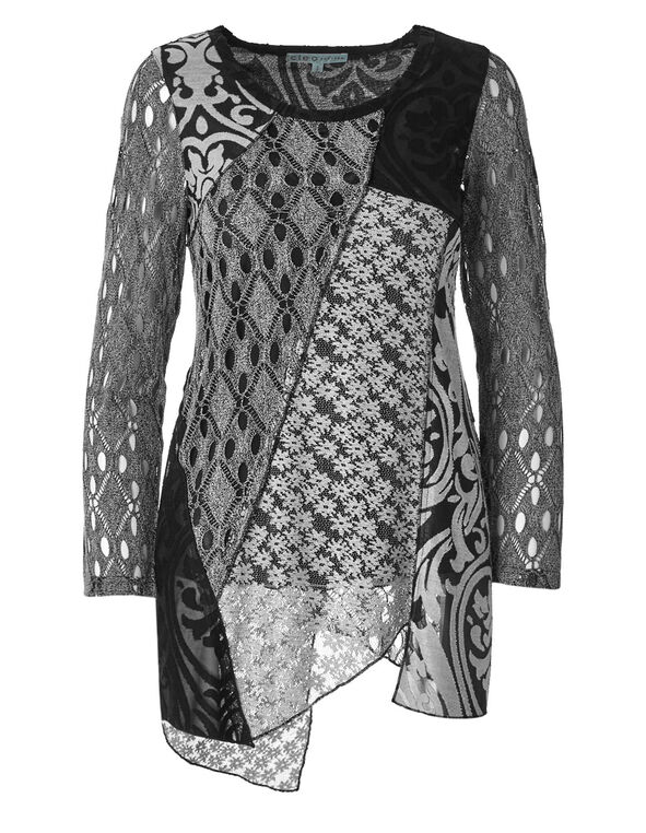Black Mixed Media Tunic Top, Black/White, hi-res