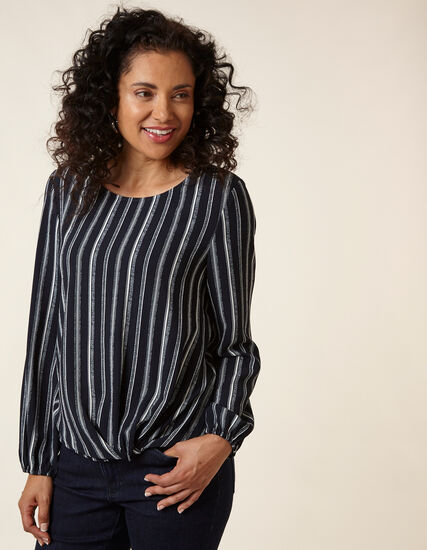 Navy Striped Knot Front Blouse, Navy, hi-res