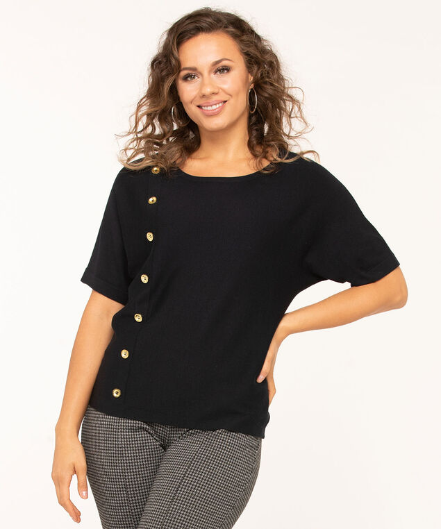 Button Detail Dolman Pullover Sweater, Black, hi-res