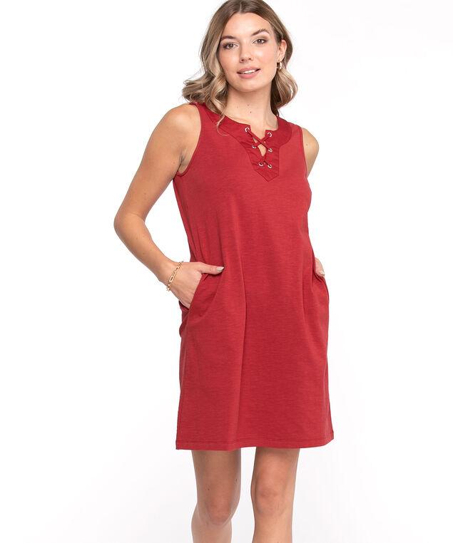 Cotton Tie Neck Slub Dress, Red
