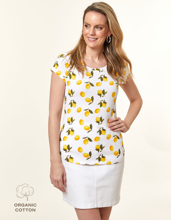 Organic Cotton Tee, White/Yellow, hi-res