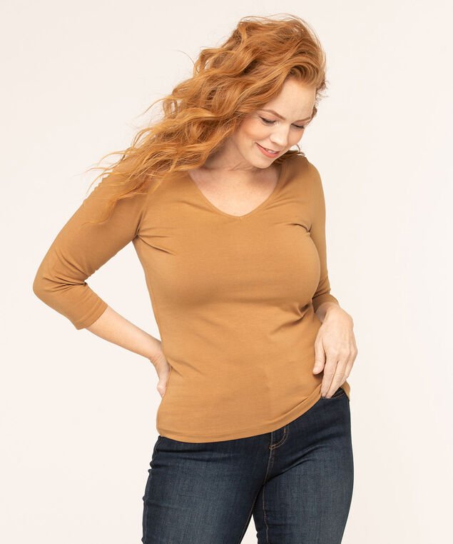 Cotton V-Neck Top, Camel, hi-res