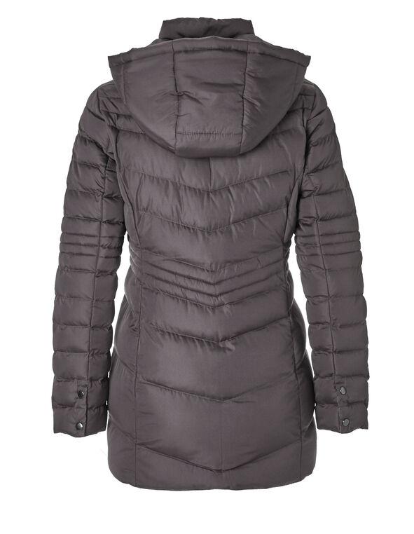Grey Short Chevron Coat, Grey, hi-res