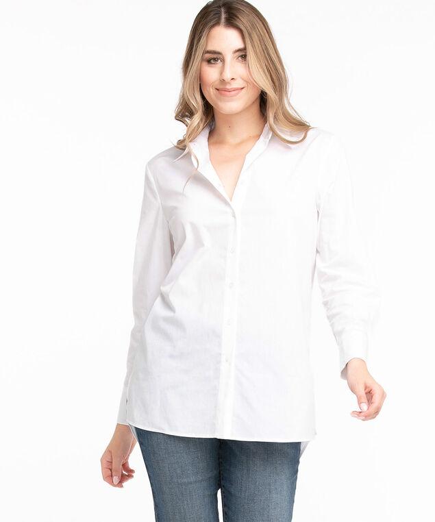 Poplin Button Front Long Sleeve Shirt, White