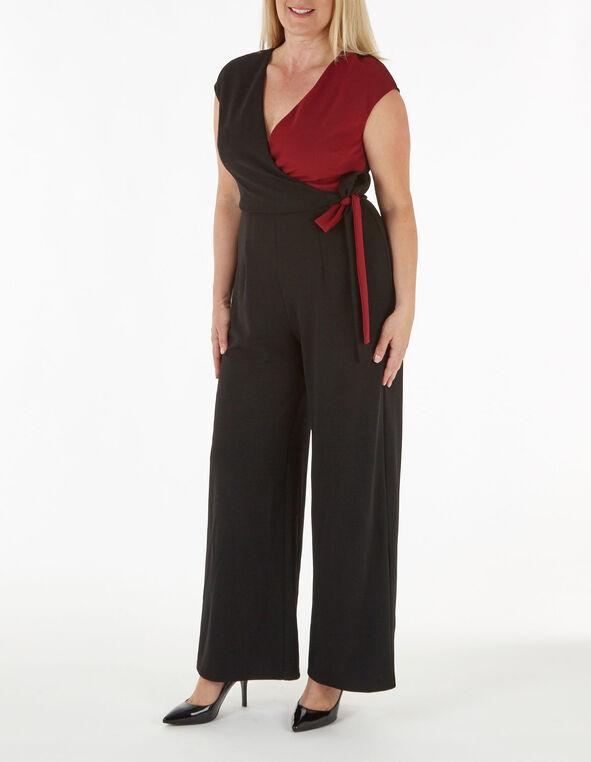 Black Side Tie Jumpsuit, Black, hi-res