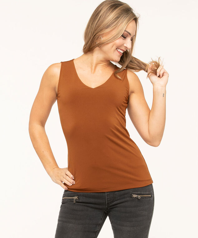 Essential V-Neck Layering Tank, Copper, hi-res
