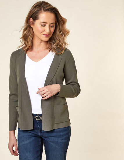 Olive Knit Open Sweater, Green/Olive, hi-res