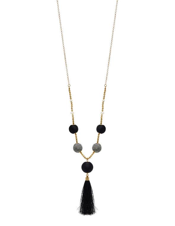 Black Patterned Bobble Necklace, Gold, hi-res