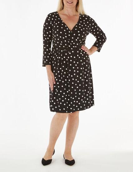 Black Polka Dotted Fit & Flare Dress, Black, hi-res