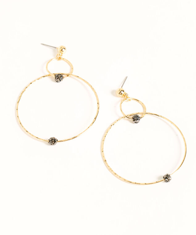 Black Fireball Gold Hoop Earrings, Gold/Black