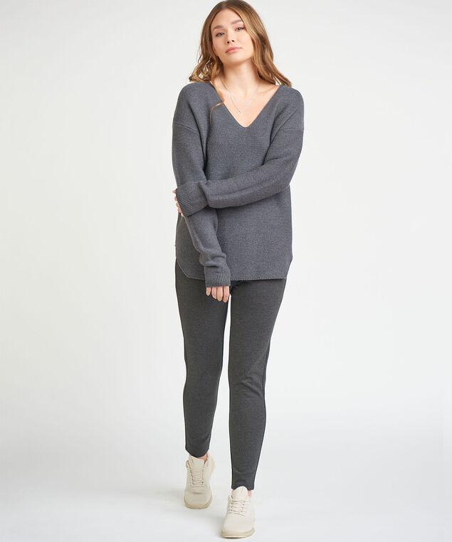 Dex Black Tape Waffle Knit Sweater, Dark Charcoal