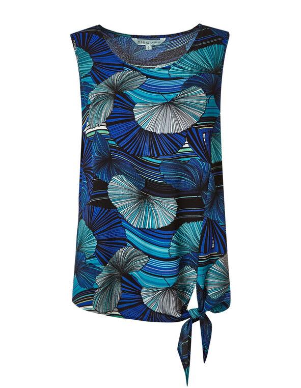 Blue Palm Tie Front Crepe Blouse, Blue, hi-res