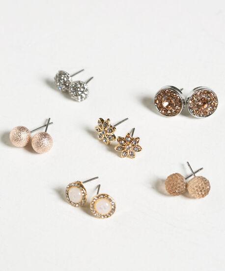 Crystal Stud Earring Set, Silver/Gold/Rose Gold, hi-res