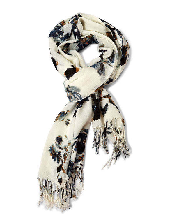 Blue Floral Oblong Scarf, Ivory/Blue, hi-res