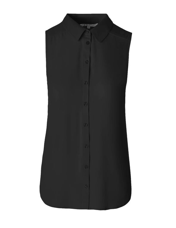 Black Button Front Sleeveless Blouse, Black, hi-res