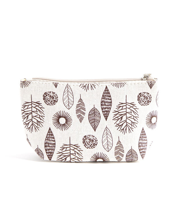 Printed Cotton Canvas Pouch, White Leaf