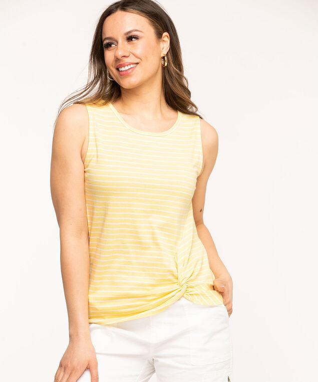 Sleeveless Scoop Neck Twist Hem Tee, Yellow/White Stripe