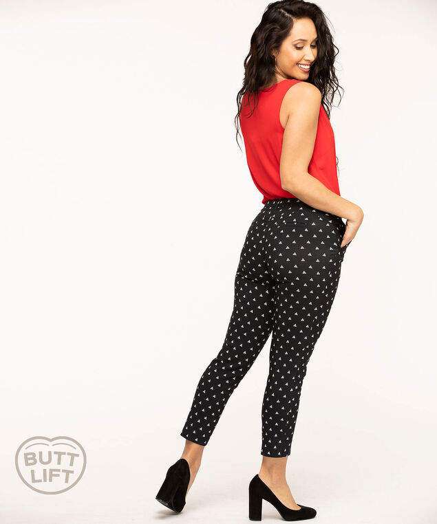 Butt Lift Slim Ankle Pant, Black/White Pattern