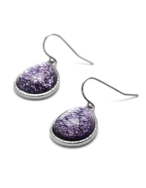 Purple Crackled Stone Earring, Purple, hi-res
