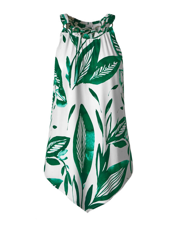 Green Tropical Printed Top, Green/White, hi-res
