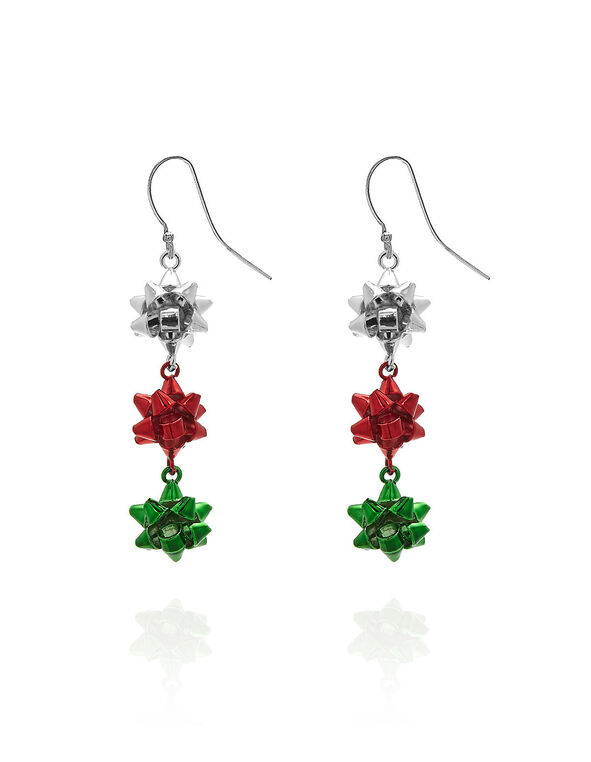Christmas Bow Drop Earring, Red/Green/Silver, hi-res