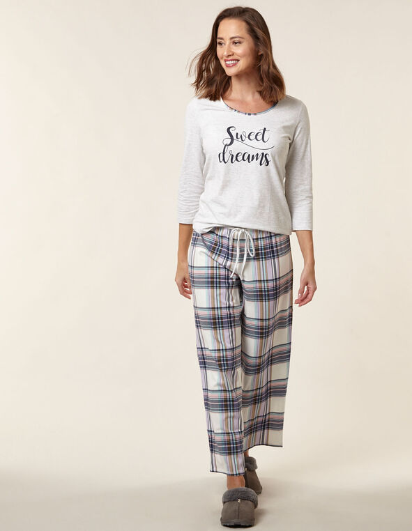 Grey Plaid Cotton Pyjama Set, Grey, hi-res