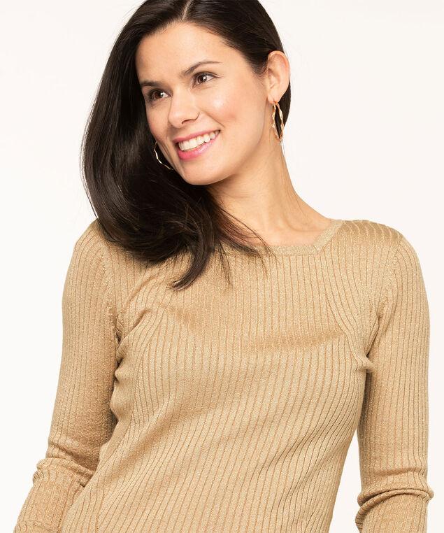 Metallic Square Neck Sweater, Gold, hi-res