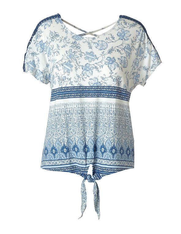 White Printed Crochet Sleeve Top, White/Blue, hi-res