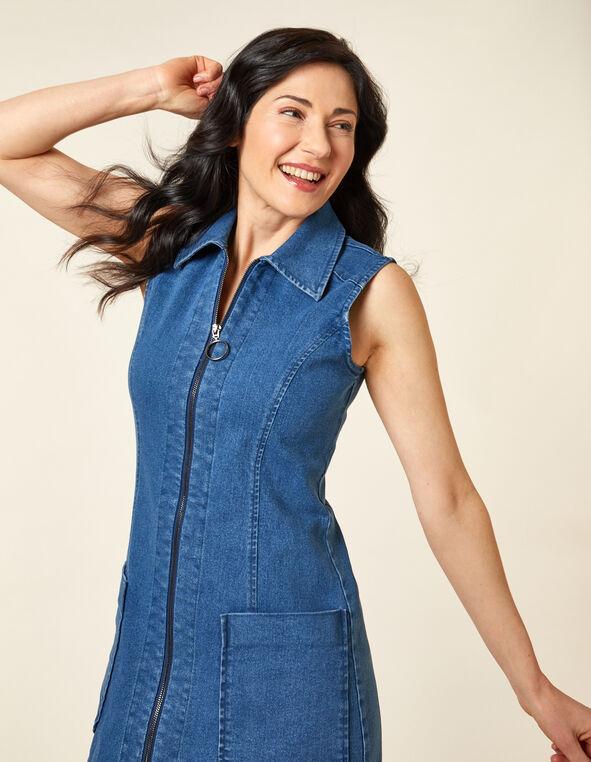 Denim Collared Dress, Blue/Denim, hi-res