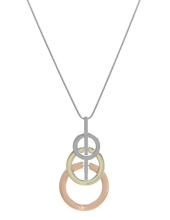 Tri Circle Long Necklace, Silver, hi-res