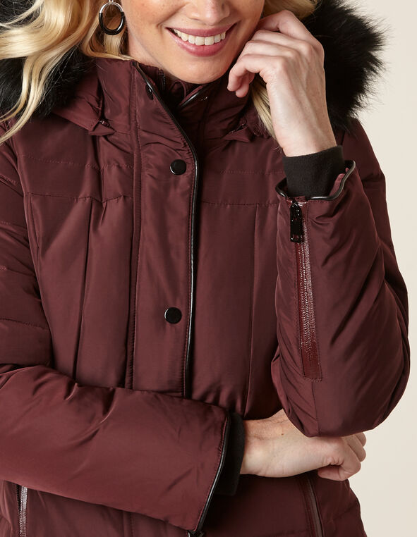 Merlot Curved Hem Down Coat, Merlot, hi-res