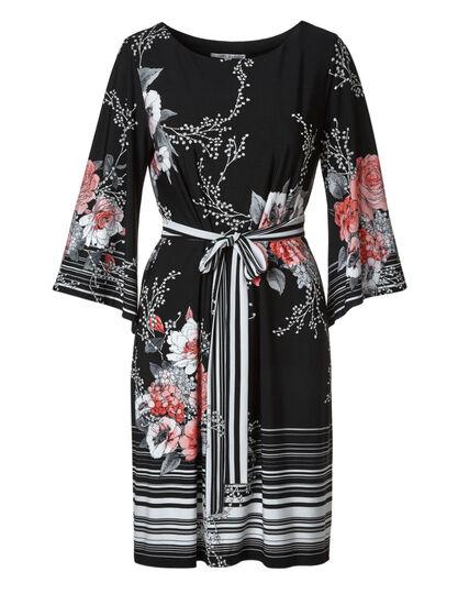 Black Floral Belted Dress, Black, hi-res