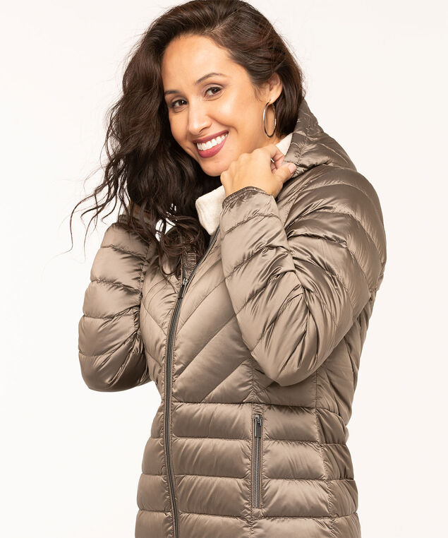 Pearlized Taupe Packable Puffer, Taupe