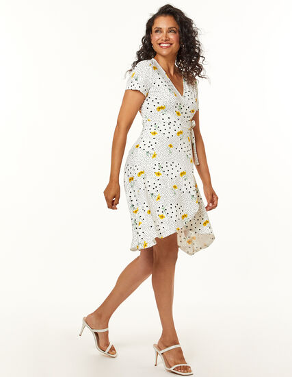 Yellow Daisy Dress, White/Yellow, hi-res