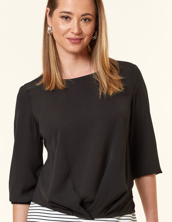 Black Pleated Blouse, Black, hi-res