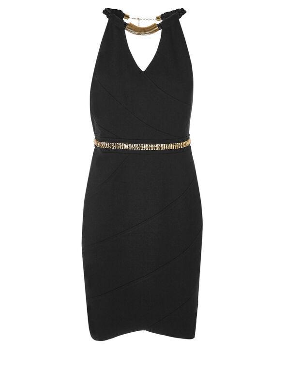 Black Sleeveless Shift Dress, Black, hi-res