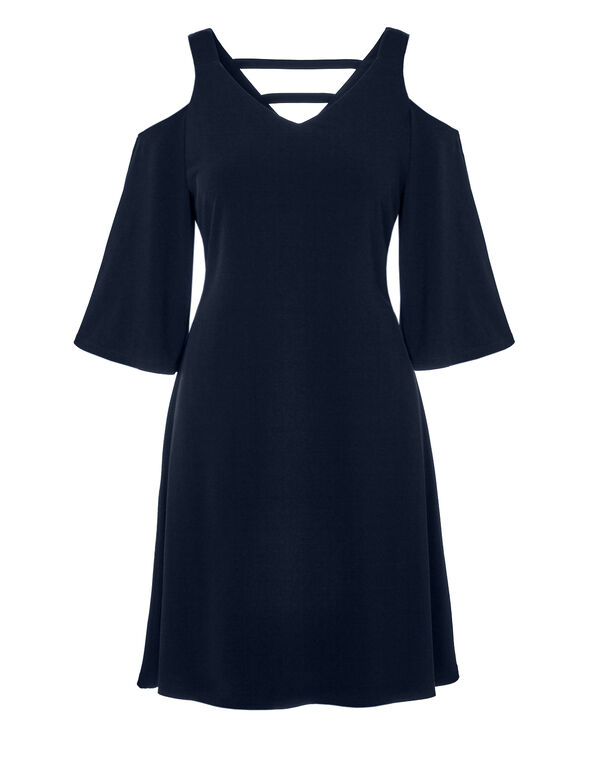 Navy Cold Shoulder Dress, Navy, hi-res